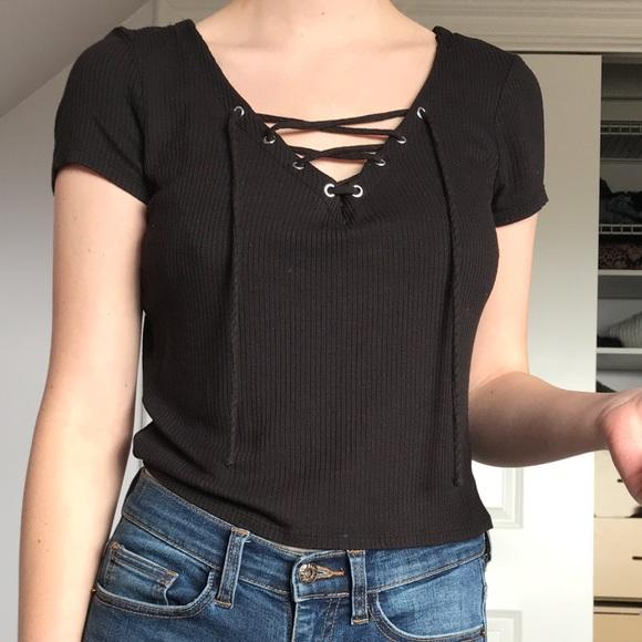 85ef90d8fc Full Tilt / Black Ribbed, V Neck, Lace-up T-Shirt
